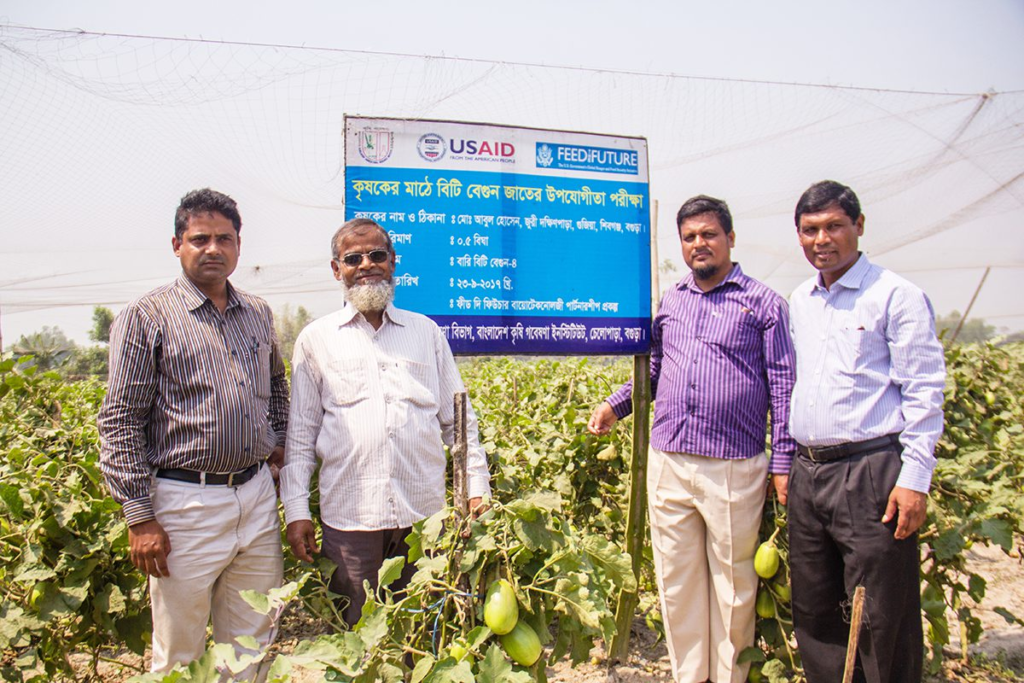 Bt brinjal farmer Md. Abul Hossain (second from left) with the head of BARI OFRD (far right) and other scientists of BARI.