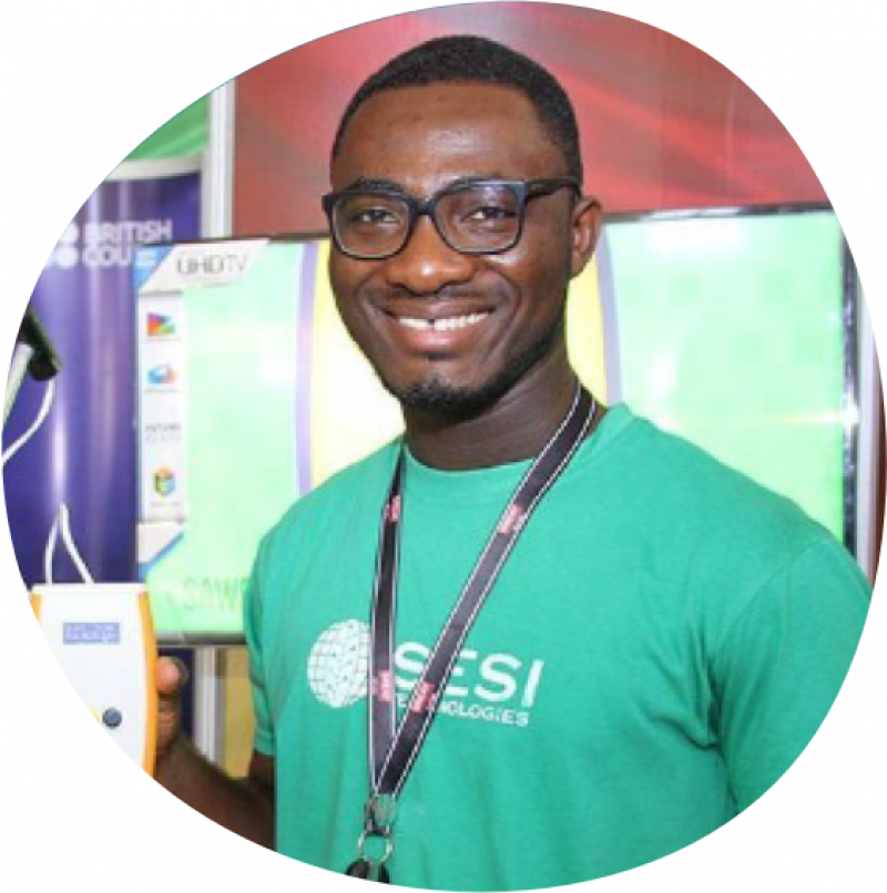 "Isaac Sesi, a Ghanaian innovator working to ""create an Africa where no one has to go to bed on an empty stomach anymore."""